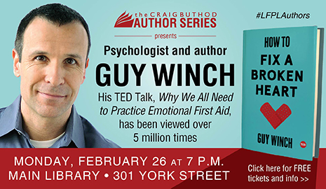 Psychologist & author Guy Winch, Monday, Feb. 26 at 7 p.m.
