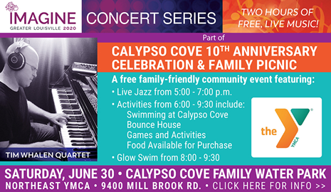 Imagine 2020 concert series presents the Time Whalen Quartet at the Calypso Cove 10th Anniversary Celebration and Family Picnic on Saturday, June 30