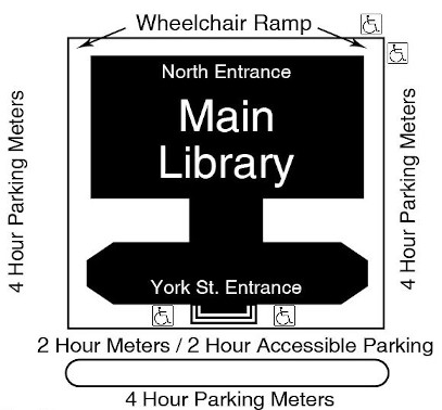 Accessible parking and ramps at the Main Library
