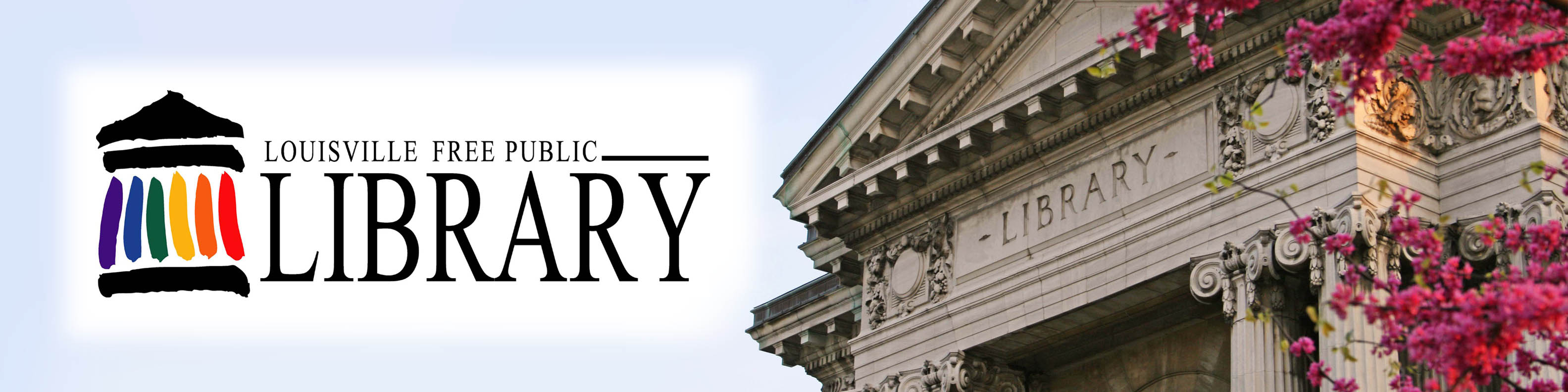 Louisville Free Public Library - logo and picture of kids with library card